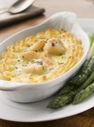 Coquilles St Jacques Mornay with Pomme Puree - stock photo