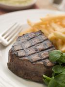 Fillet Steak Frite and Watercress - stock photo