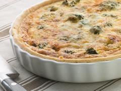 Broccoli and Roquefort Quiche in a Flan Dish - stock photo