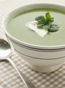 Bowl of Watercress Soup with Cr me Fraiche - stock photo