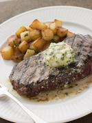 Entrecote de Beouf' with Roquefort Butter and Parmentier Potatoes Stock Photos