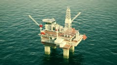 Oil platform rig on sea drilling for oil. Petrol industry offshore gas north sea Stock Footage