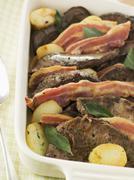 Calves Liver Bacon and Saute potatoes - stock photo