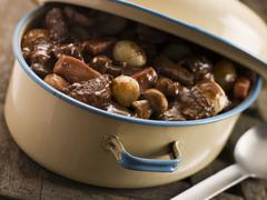 Casserole Dish With Beef Bourguignonne Stock Photos