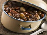 Stock Photo of Casserole Dish With Beef Bourguignonne