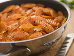 Vichy Carrots in a Saute Pan - stock photo