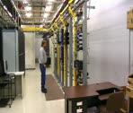 IT technician works in computer server room Stock Footage