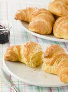 Plate of Croissants with Preserve Stock Photos