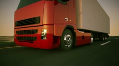 Truck TIR on road delivery cargo transportation highway freight logistics lorry  Stock Footage