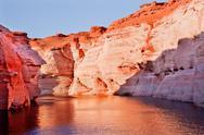 Orange pink antelope canyon reflection lake powell arizona Stock Photos