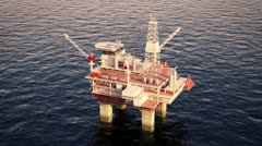 Oil platform rig on sea drilling for oil. Petrol industry offshore gas north sea - stock footage
