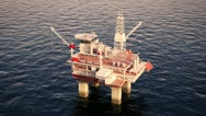 Stock Video Footage of Oil platform rig on sea drilling for oil. Petrol industry offshore gas north sea