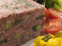 Jellied Gammon and Leek Terrine with Piccalilli - stock photo