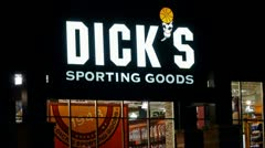 Dicks sporting goods storefront sign loop Stock Footage