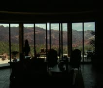 Steadicam into large desert home with incredible view Stock Footage