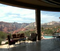 Steadicam through large desert home with incredible view Stock Footage