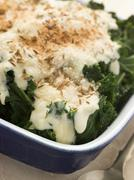 Curly Kale with Cheese Sauce Caraway Seeds and Breadcrumbs Stock Photos