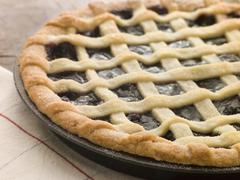 Hot Cherry Lattice Pie Stock Photos