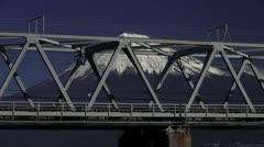 Shinkansen And Mount Fuji Stock Footage