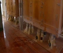 Large shaking boxes at flour mill Stock Footage