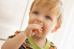 Young boy eating carrot indoors - stock photo