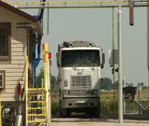 semi truck with industrial equipment - stock footage