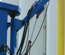 Close-up on industrial machine with articulating joints Stock Footage