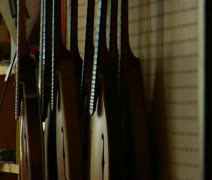 Rack focus on stringed instruments Stock Footage