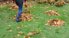 Stock Video Footage of woman rubber boots kick mess rake autumn leaf piles garden