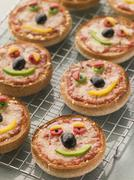 Smiley Faced Pizza Muffins Stock Photos