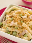 Macaroni Cheese with Peas Ham and a Toasted Crumb Stock Photos
