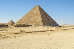 Pyramid of Menkaure at Giza, Egypt - stock photo