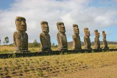 Several moai taken at Ahu Akivi on Easter Island - stock photo