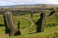 Several moai at Rano Raraku on Easter Island Stock Photos