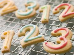Number Shortbread Biscuits with Icing Stock Photos
