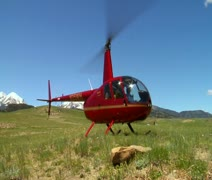 Shot of red helicopter landing in grassy field Stock Footage