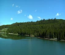 Aerial of Hyalite Reservoir near Bozeman Montana Stock Footage