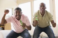 Two men in living room with beer bottles cheering and smiling - stock photo