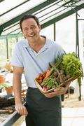 Man in greenhouse holding basket of vegetables smiling - stock photo