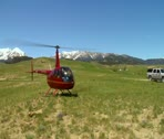 Stock Video Footage of Robinson R 44 helicopter just landed