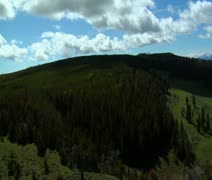 Aerial shot of Montana pine forest and grassy plain Stock Footage