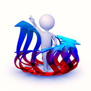 abstract character surrounded with circle of rising arrows - stock illustration