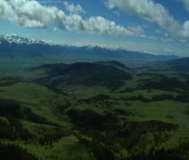 Aerial shot of distant valleys in Paradise Valley Montana Stock Footage