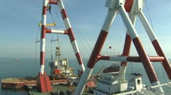 Crane platform and oil rig Stock Footage