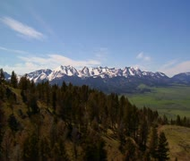 Aerial shot of Paradise Valley Montana, pines on grassy mountains - stock footage