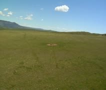 Aerial shot of antelope at cattle water trough Stock Footage