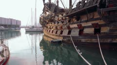 Museum of ancient ship made of wood - stock footage