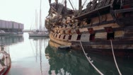 Stock Video Footage of Museum of ancient ship made of wood