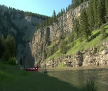 Timelapse of river, mountain and raft Stock Footage
