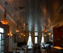 Large restaurant dining room with warm lighting Stock Footage